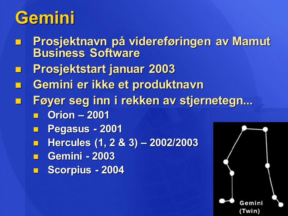 Gemini Prosjektnavn på videreføringen av Mamut Business Software