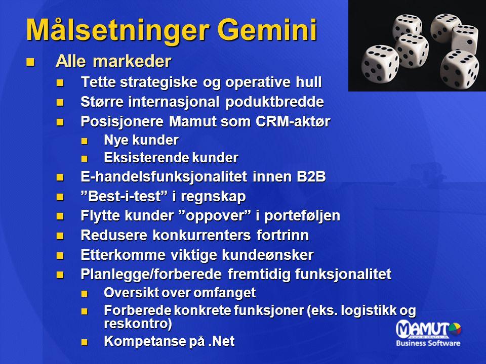 Målsetninger Gemini Alle markeder Tette strategiske og operative hull