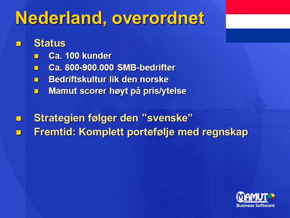 Nederland, overordnet Status Strategien følger den svenske