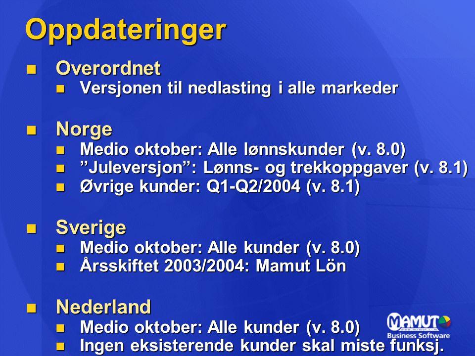 Oppdateringer Overordnet Norge Sverige Nederland