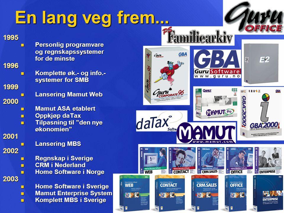 En lang veg frem... 1995. Personlig programvare. og regnskapssystemer. for de minste. 1996. Komplette øk.- og info.-