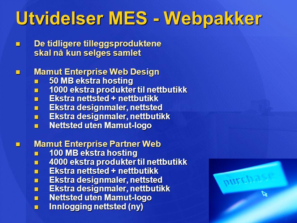 Utvidelser MES - Webpakker