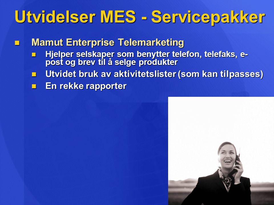 Utvidelser MES - Servicepakker