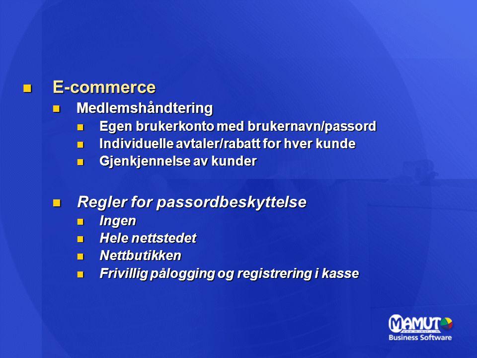 E-commerce Regler for passordbeskyttelse Medlemshåndtering