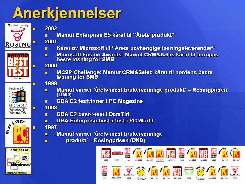 Anerkjennelser 2002 Mamut Enterprise E5 kåret til Årets produkt 2001