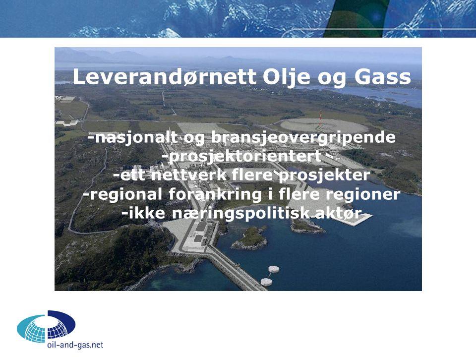 Leverandørnett Olje og Gass -nasjonalt og bransjeovergripende -prosjektorientert -ett nettverk flere prosjekter -regional forankring i flere regioner -ikke næringspolitisk aktør