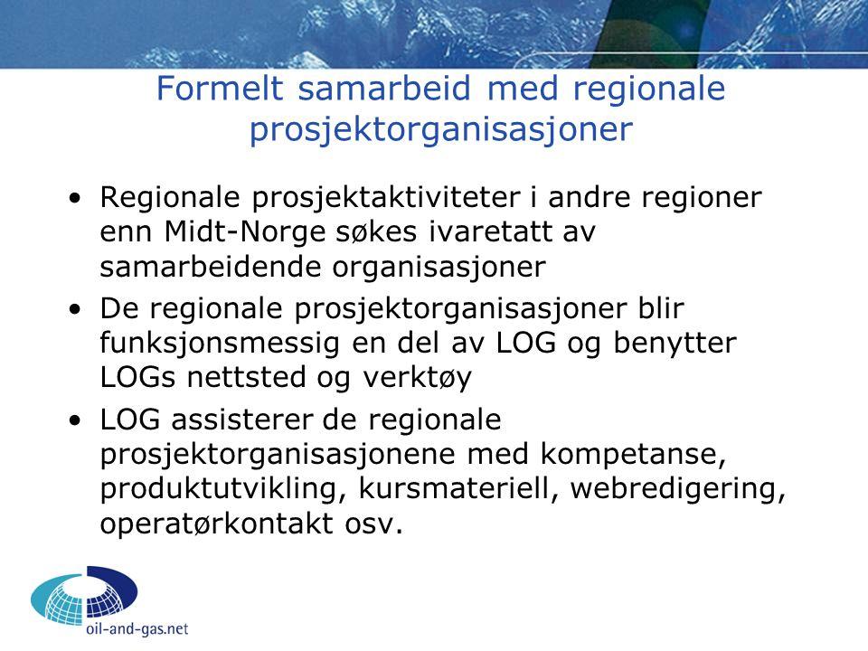 Formelt samarbeid med regionale prosjektorganisasjoner