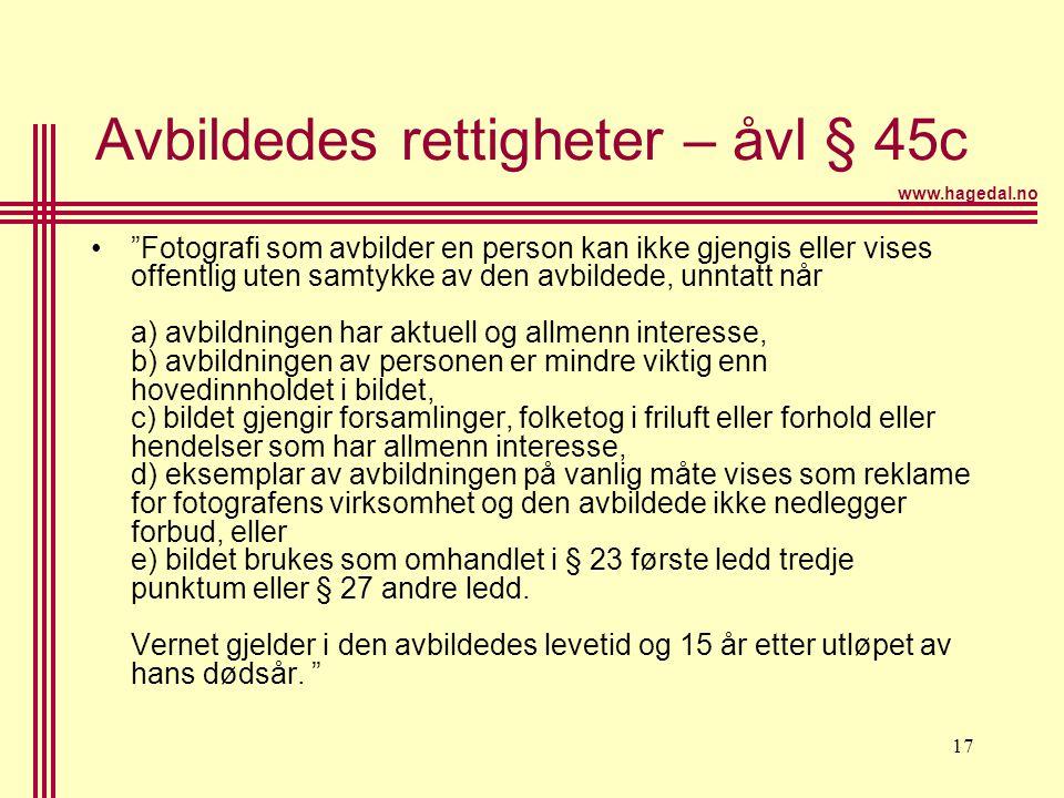 Avbildedes rettigheter – åvl § 45c