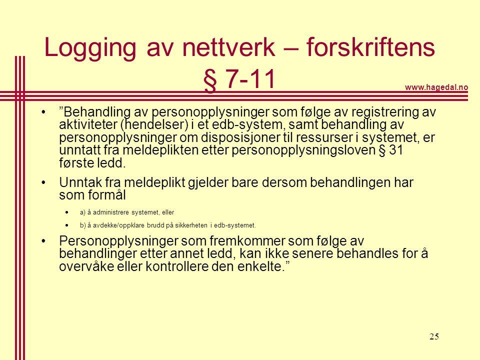 Logging av nettverk – forskriftens § 7-11