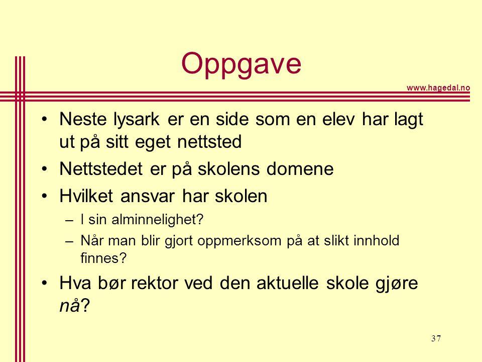 Oppgave Neste lysark er en side som en elev har lagt ut på sitt eget nettsted. Nettstedet er på skolens domene.