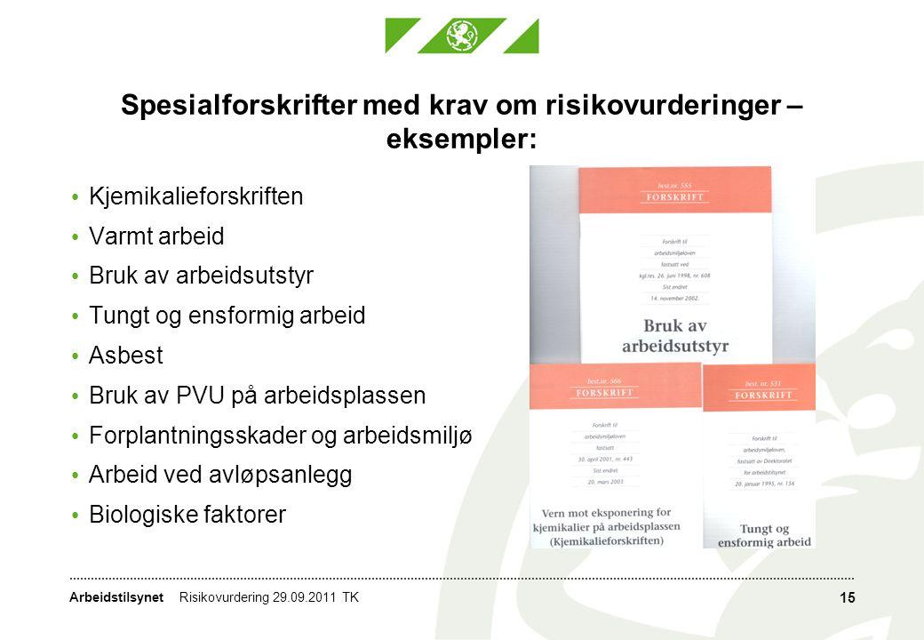 Spesialforskrifter med krav om risikovurderinger – eksempler: