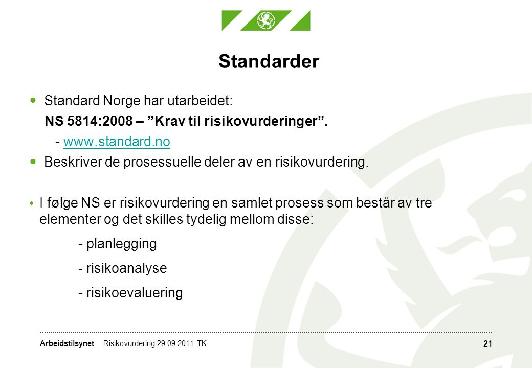 Standarder Standard Norge har utarbeidet: