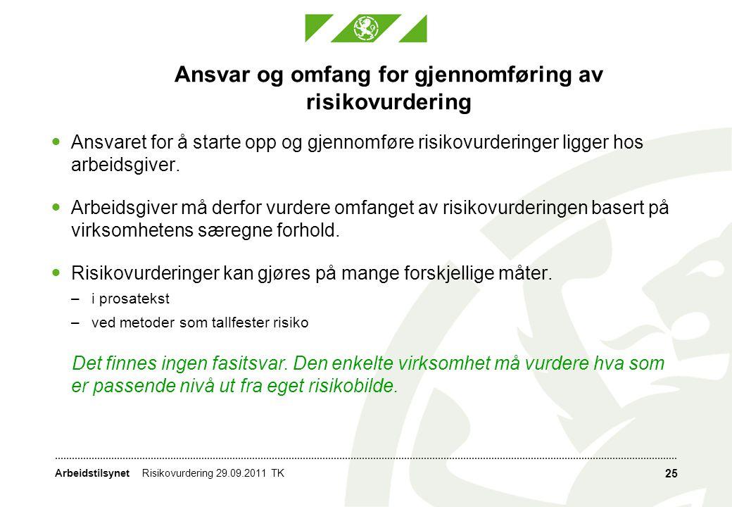 Ansvar og omfang for gjennomføring av risikovurdering