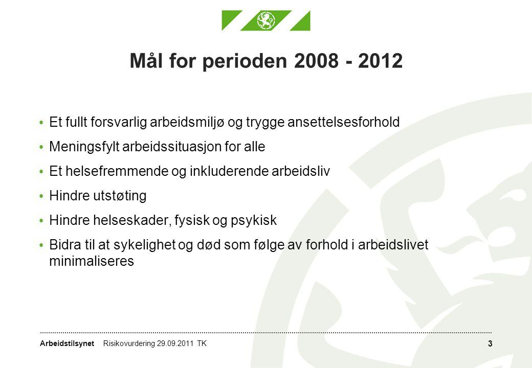Mål for perioden 2008 - 2012 Et fullt forsvarlig arbeidsmiljø og trygge ansettelsesforhold. Meningsfylt arbeidssituasjon for alle.