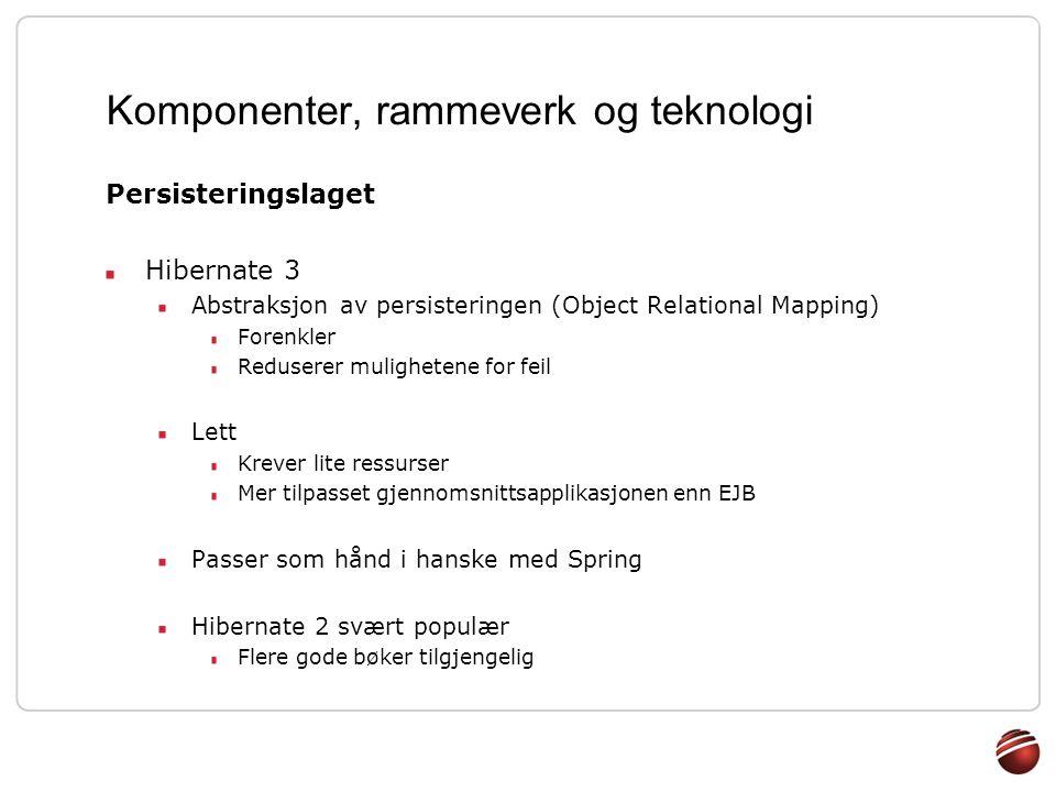 Komponenter, rammeverk og teknologi