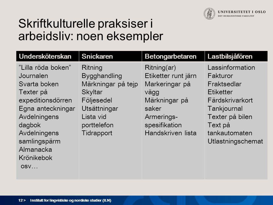 Skriftkulturelle praksiser i arbeidsliv: noen eksempler