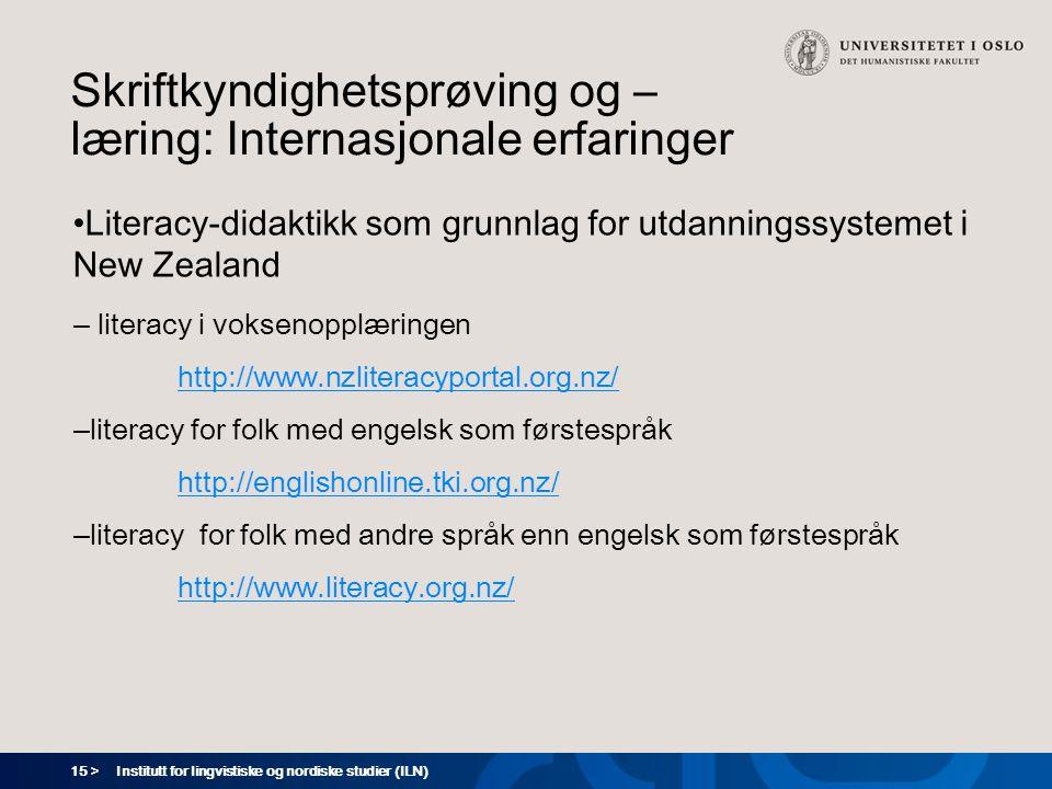 Skriftkyndighetsprøving og –læring: Internasjonale erfaringer