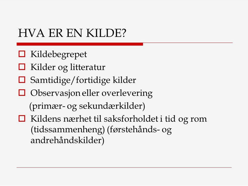 HVA ER EN KILDE Kildebegrepet Kilder og litteratur