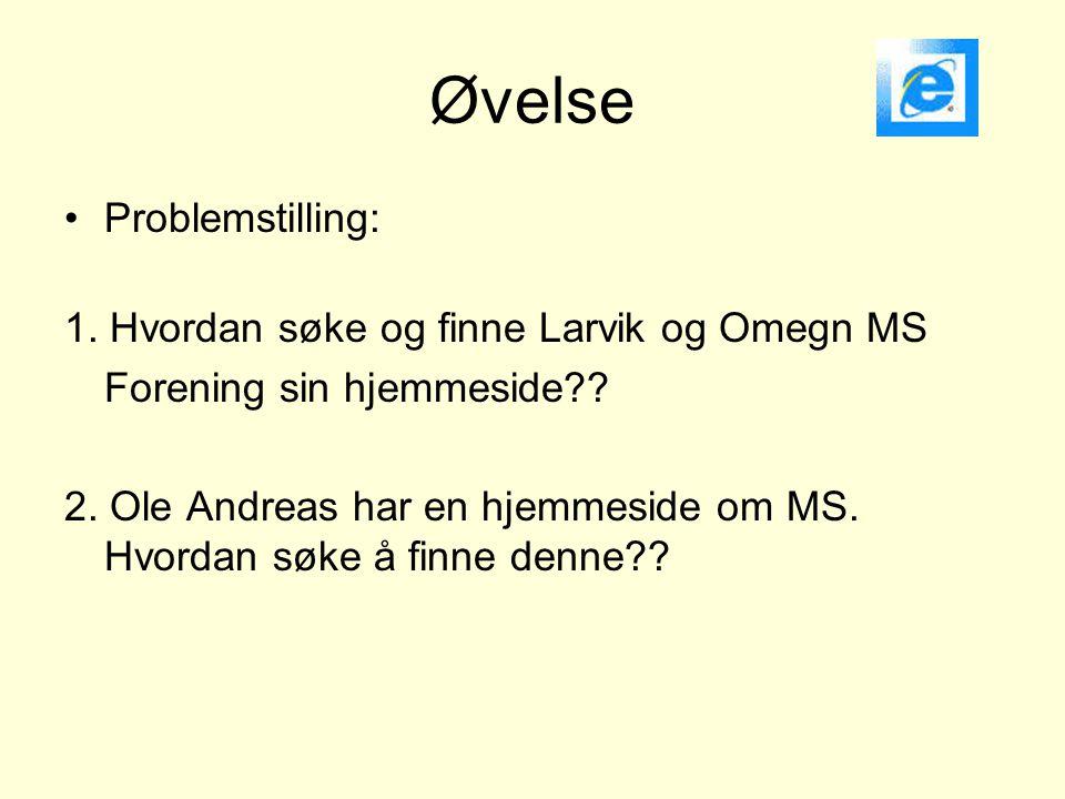 Øvelse Problemstilling: 1. Hvordan søke og finne Larvik og Omegn MS
