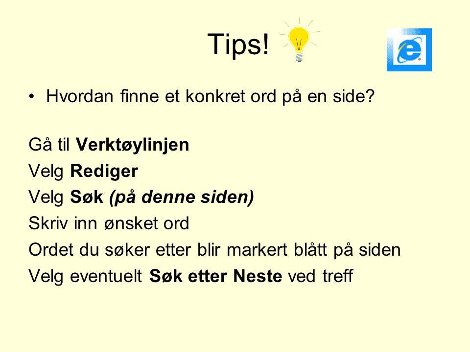 Tips! Hvordan finne et konkret ord på en side Gå til Verktøylinjen
