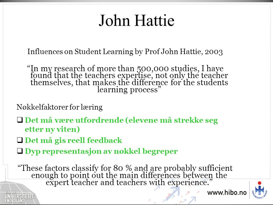 Influences on Student Learning by Prof John Hattie, 2003