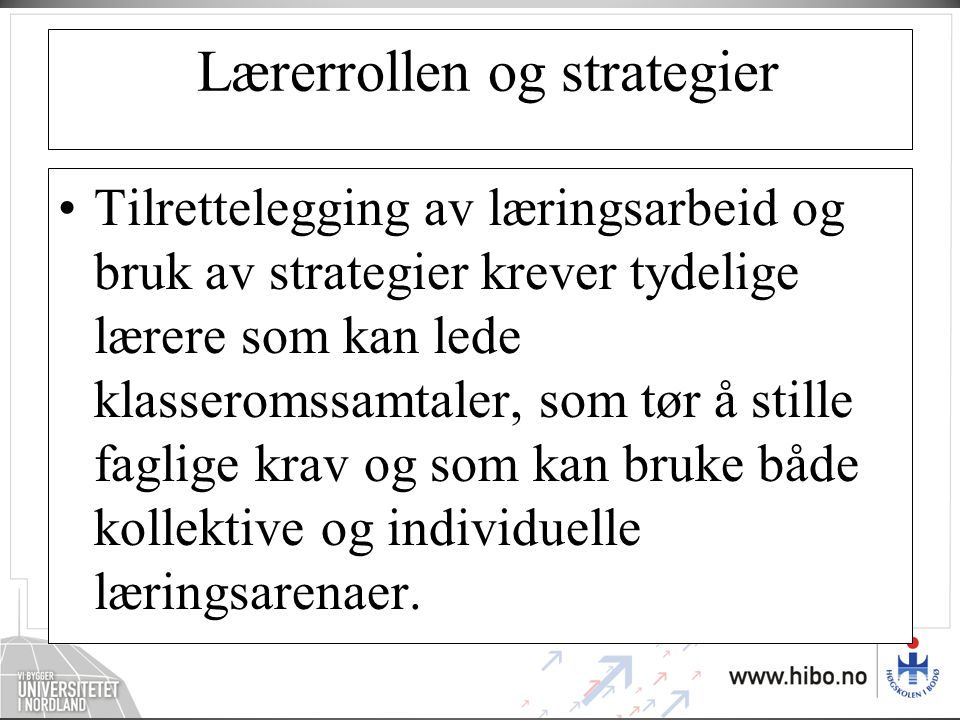 Lærerrollen og strategier