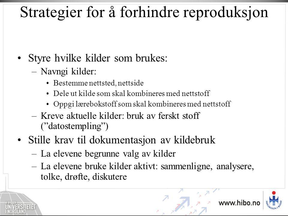 Strategier for å forhindre reproduksjon