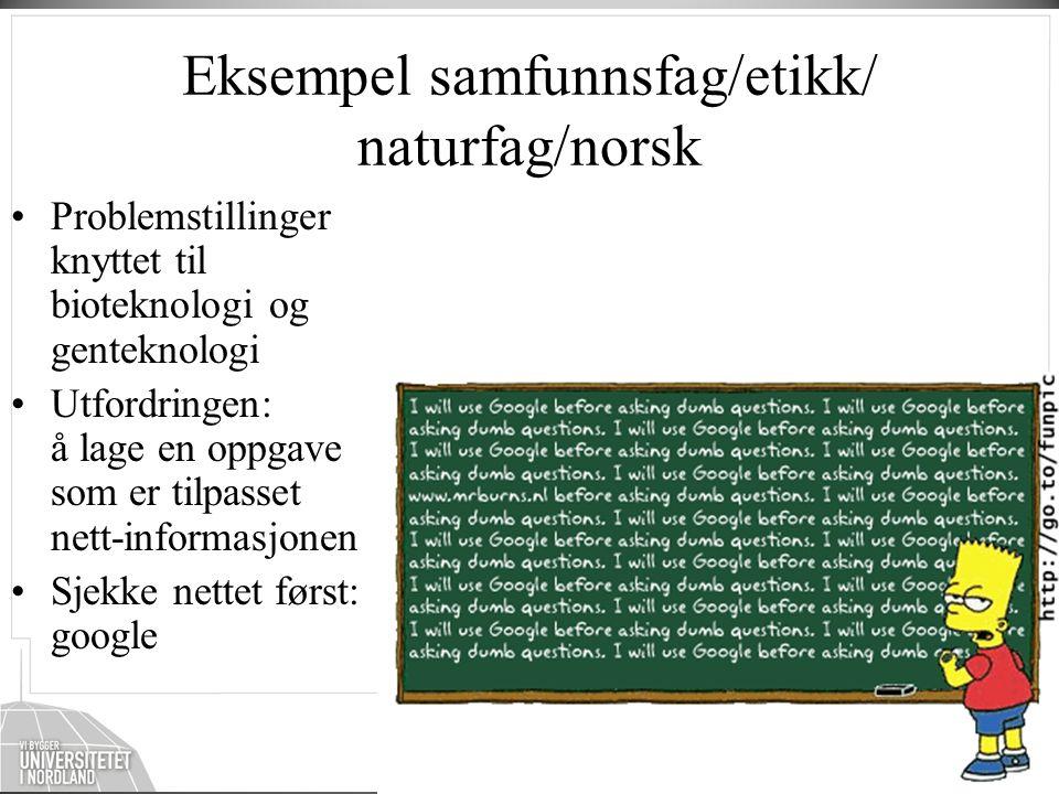 Eksempel samfunnsfag/etikk/ naturfag/norsk