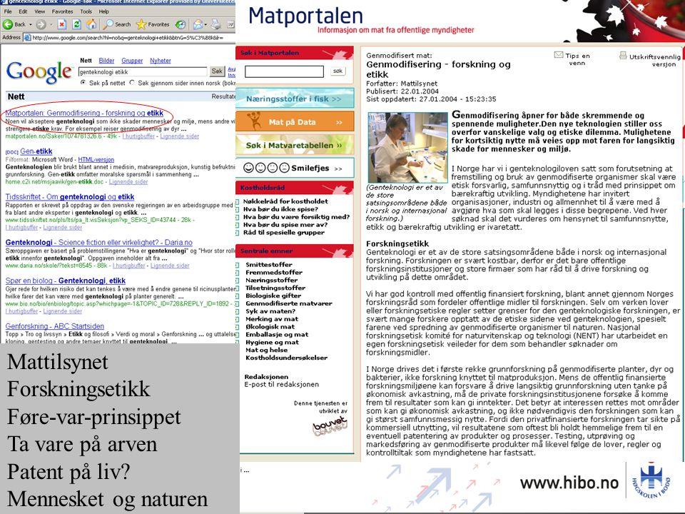 Mattilsynet Forskningsetikk Føre-var-prinsippet Ta vare på arven Patent på liv.