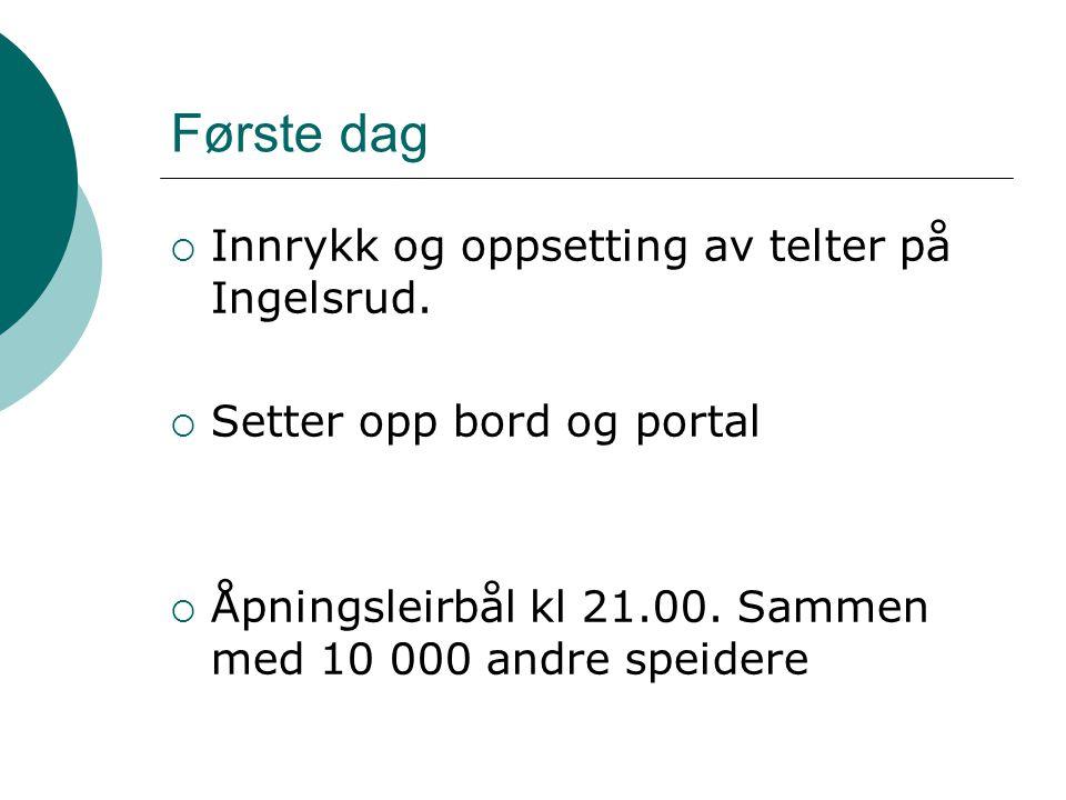 Første dag Innrykk og oppsetting av telter på Ingelsrud.
