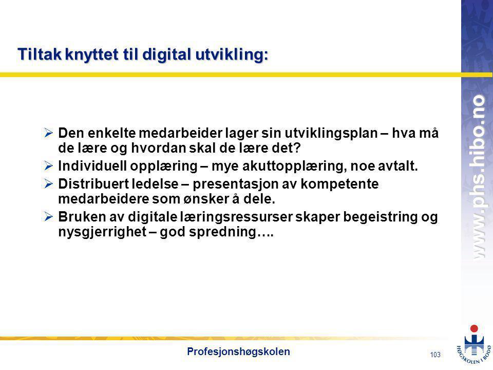 Tiltak knyttet til digital utvikling: