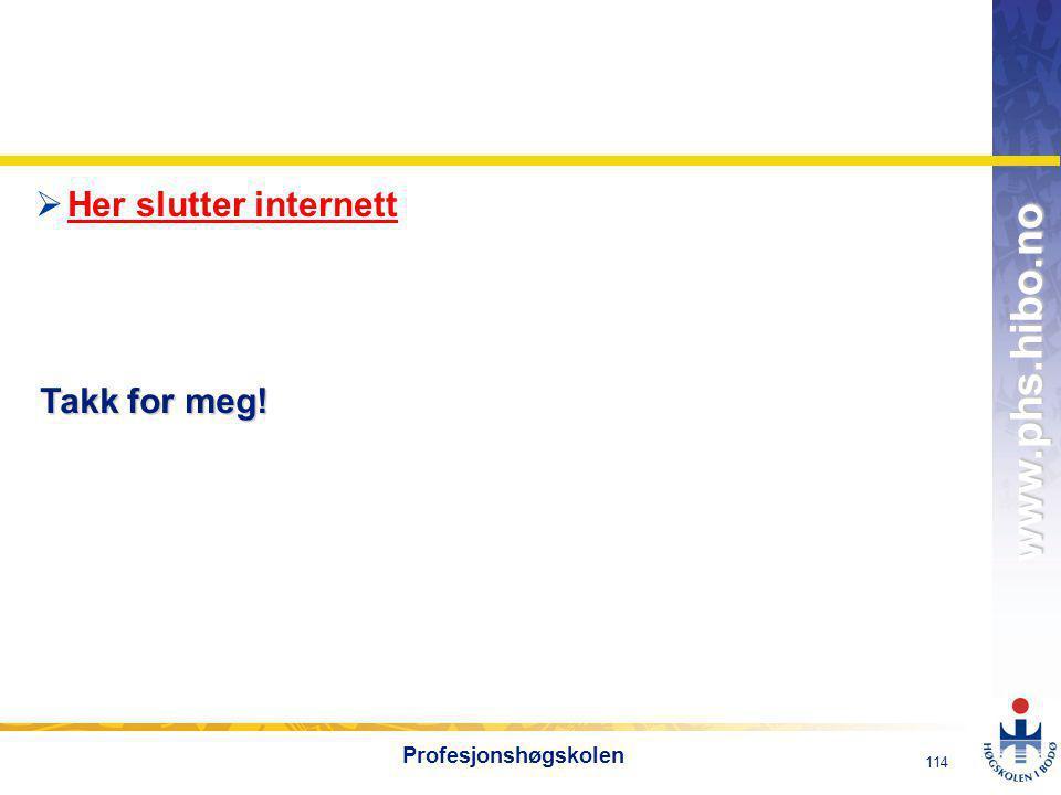 Her slutter internett Takk for meg! Profesjonshøgskolen