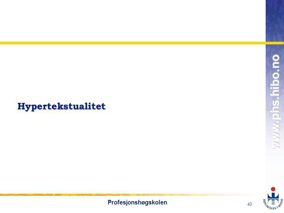 Hypertekstualitet Profesjonshøgskolen