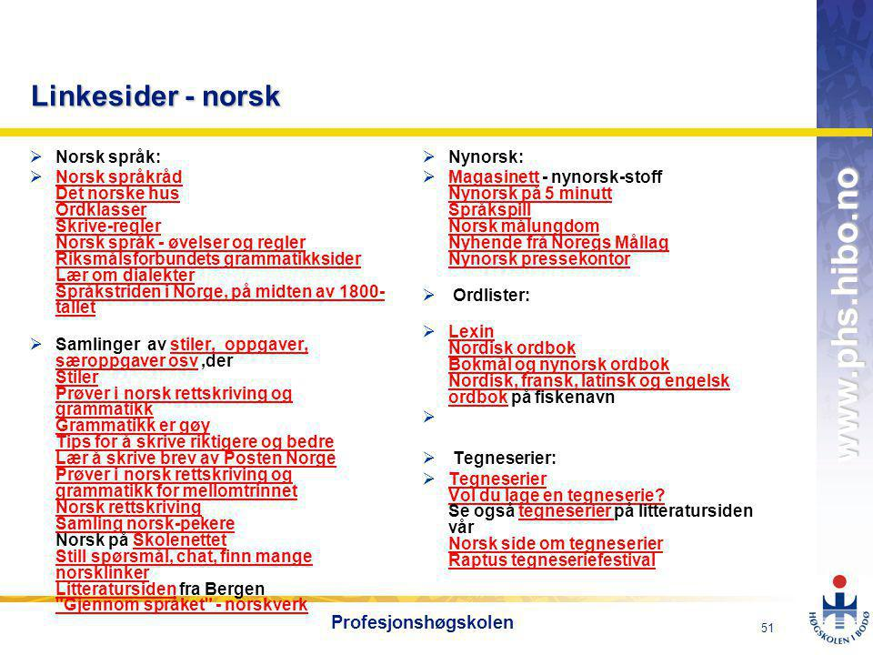 Linkesider - norsk Profesjonshøgskolen Norsk språk: