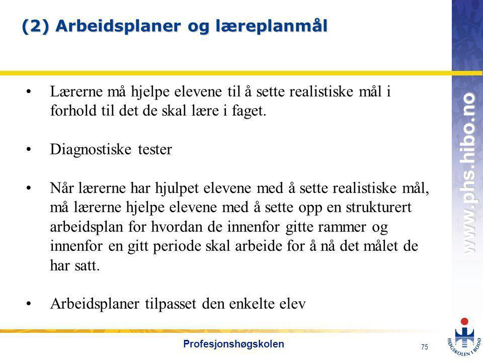 (2) Arbeidsplaner og læreplanmål