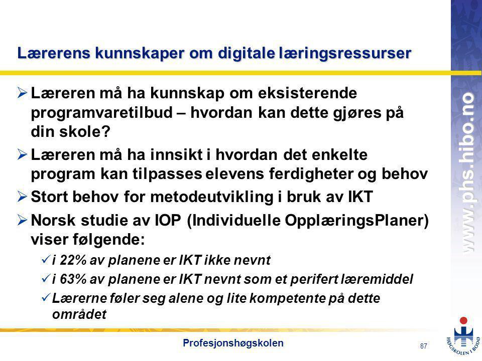 Lærerens kunnskaper om digitale læringsressurser