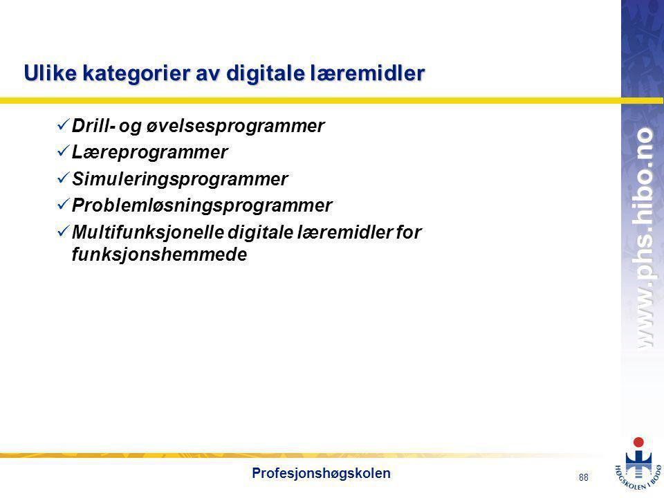 Ulike kategorier av digitale læremidler