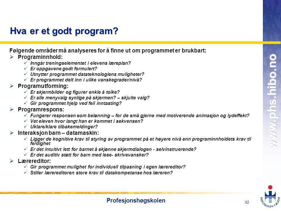Hva er et godt program Profesjonshøgskolen
