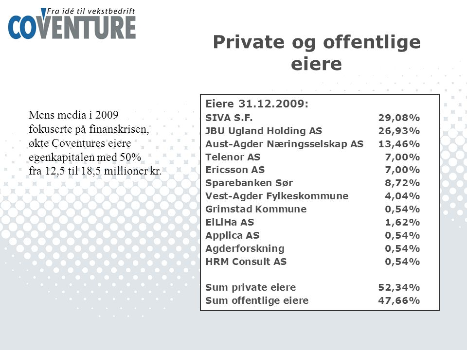 Private og offentlige eiere