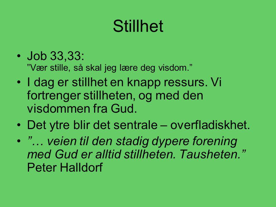 Stillhet Job 33,33: Vær stille, så skal jeg lære deg visdom.