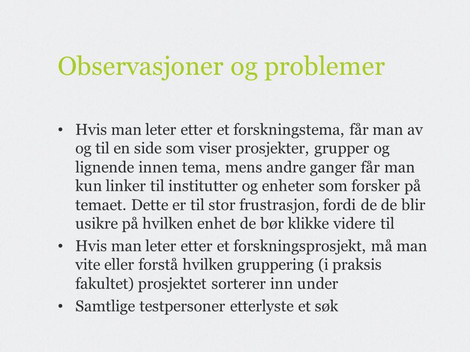 Observasjoner og problemer