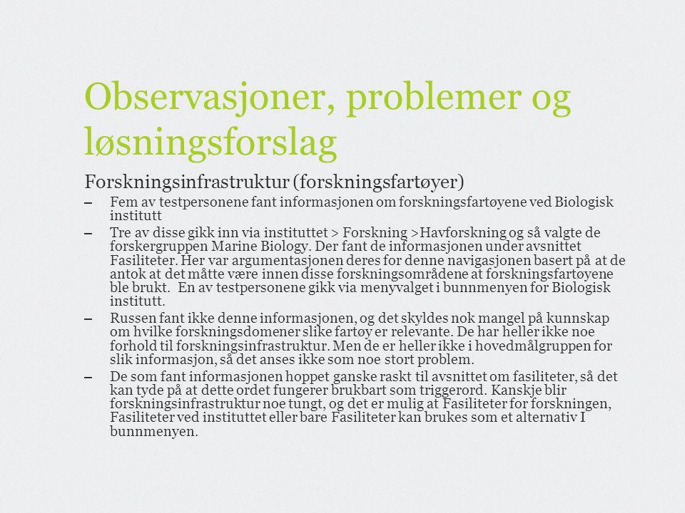 Observasjoner, problemer og løsningsforslag