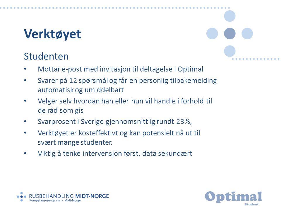 Verktøyet Studenten. Mottar e-post med invitasjon til deltagelse i Optimal.