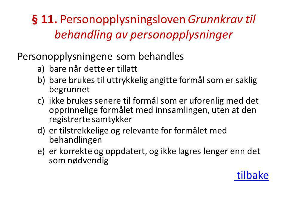 § 11. Personopplysningsloven Grunnkrav til behandling av personopplysninger
