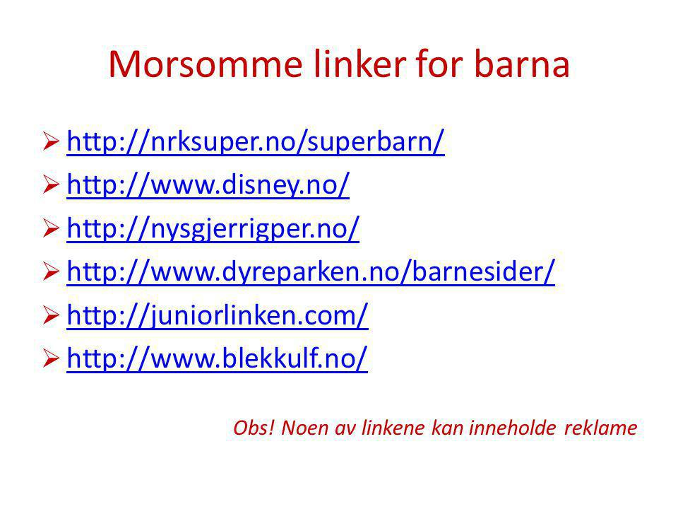 Morsomme linker for barna