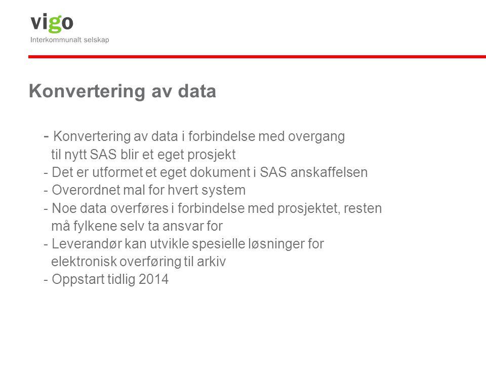 Konvertering av data - Konvertering av data i forbindelse med overgang