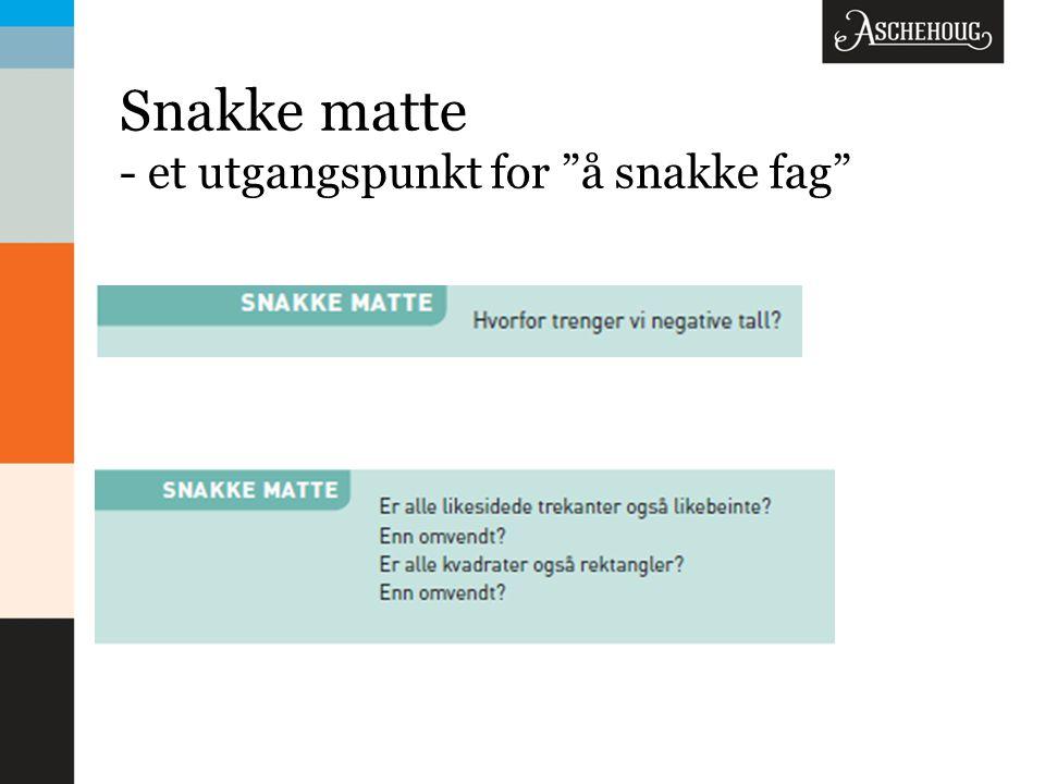 Snakke matte - et utgangspunkt for å snakke fag