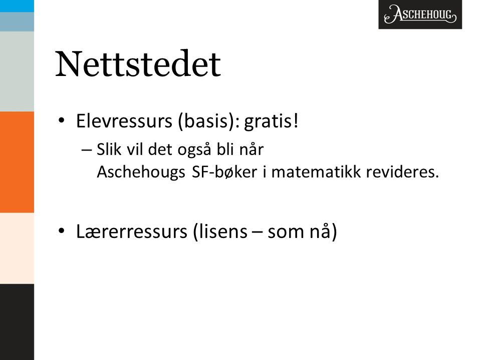 Nettstedet Elevressurs (basis): gratis! Lærerressurs (lisens – som nå)