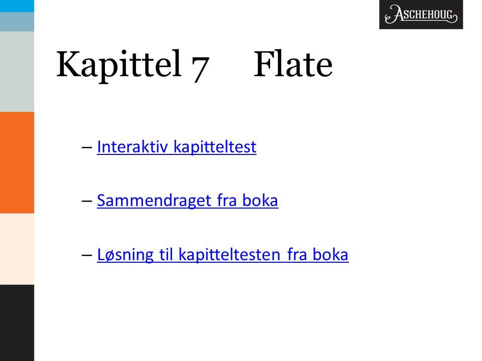 Kapittel 7 Flate Interaktiv kapitteltest Sammendraget fra boka
