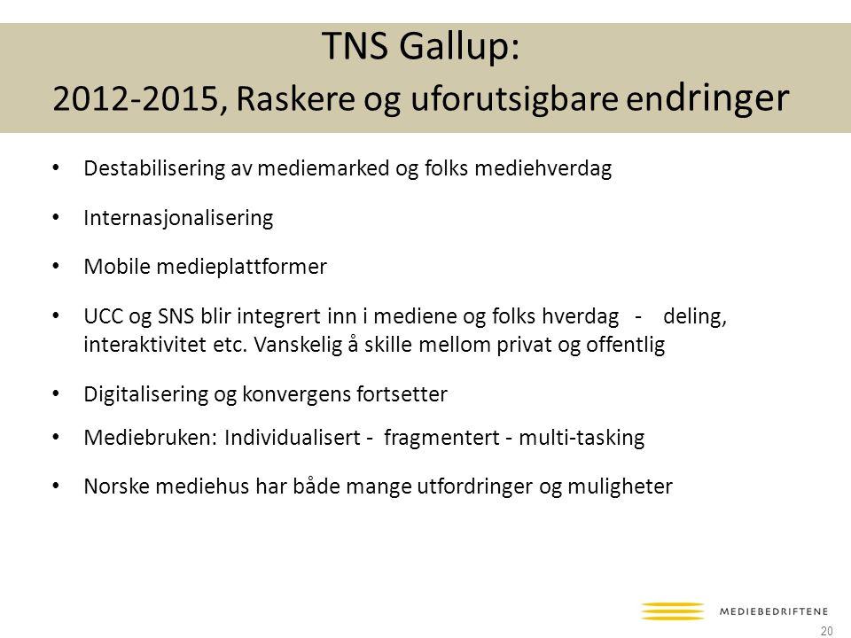 TNS Gallup: 2012-2015, Raskere og uforutsigbare endringer